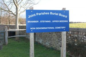 Joint Parishes Sign at the entrance to the cemetery